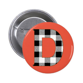 Gingham Check D Pinback Button