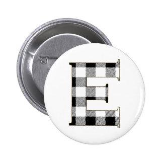 Gingham Check E Pinback Button