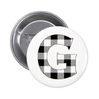 Gingham Check G Pinback Button