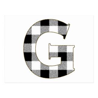 Gingham Check G Postcard