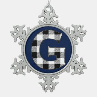 Gingham Check G Snowflake Pewter Christmas Ornament