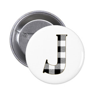 Gingham Check J Pinback Button