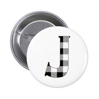 Gingham Check J Pinback Button