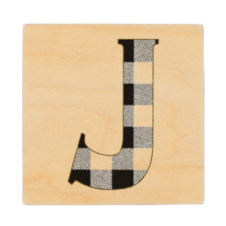 Gingham Check J Wood Coaster