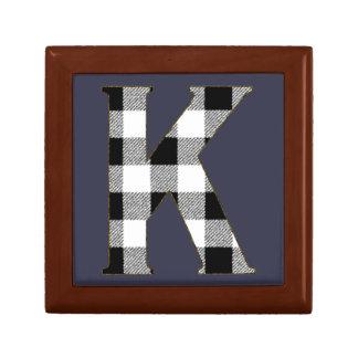 Gingham Check K Keepsake Box