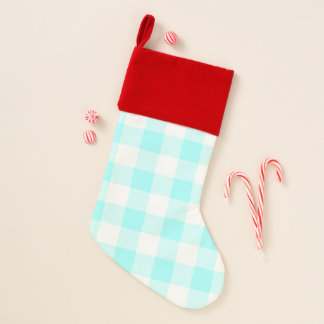 Gingham Check Light Blue Christmas Stocking