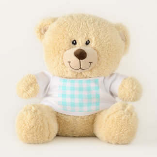 Gingham Check Light Blue Teddy Bear