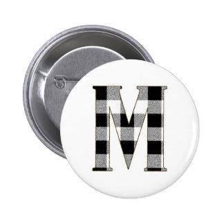 Gingham Check M Pinback Button