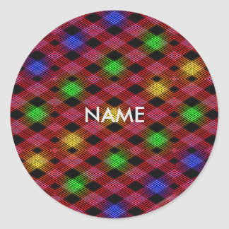 Gingham Check Multicolored Pattern Classic Round Sticker