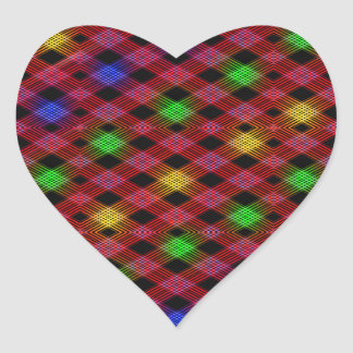Gingham Check Multicolored Pattern Heart Sticker