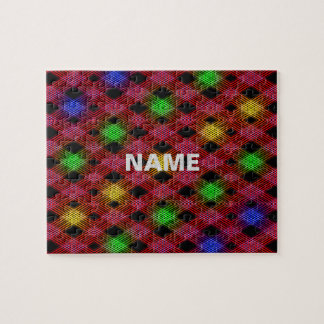Gingham Check Multicolored Pattern Jigsaw Puzzle