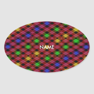 Gingham Check Multicolored Pattern Oval Sticker