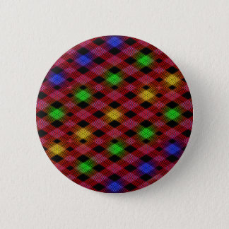 Gingham Check Multicolored Pattern Pinback Button