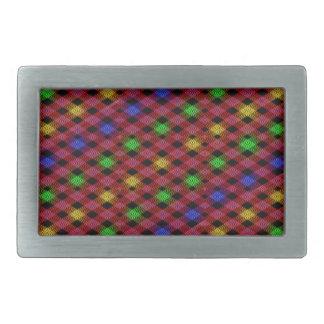 Gingham Check Multicolored Pattern Rectangular Belt Buckle