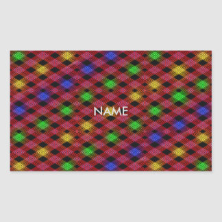 Gingham Check Multicolored Pattern Rectangular Sticker
