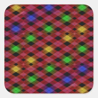 Gingham Check Multicolored Pattern Square Sticker