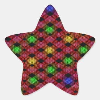 Gingham Check Multicolored Pattern Star Sticker