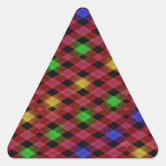 Gingham Check Multicolored Pattern Triangle Sticker
