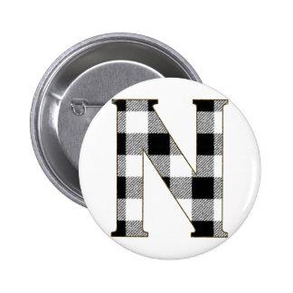 Gingham Check N Pinback Button