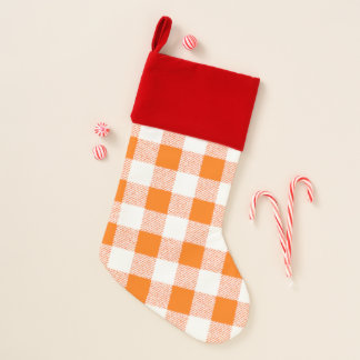 Gingham Check Orange Christmas Stocking
