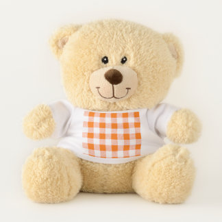 Gingham Check Orange Teddy Bear