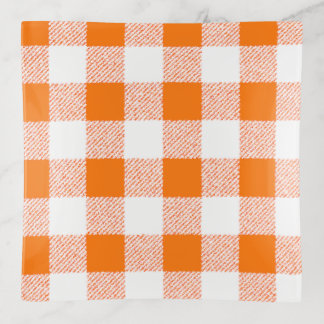 Gingham Check Orange Trinket Trays
