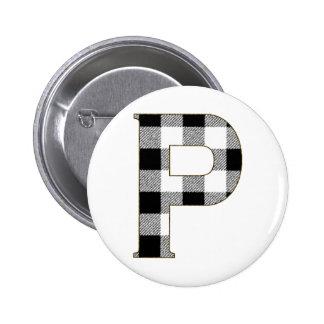 Gingham Check P Pinback Button