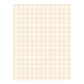 Gingham check pattern. Beige and White. Postcard