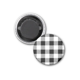 Gingham check pattern black and white 1 inch round magnet