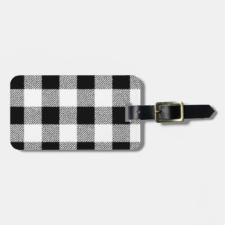 Gingham check pattern black and white bag tag