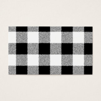 Gingham check pattern black and white business card