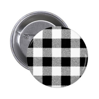 Gingham check pattern black and white button