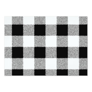 Gingham check pattern black and white card