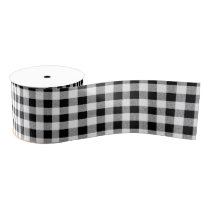 Gingham check pattern black and white grosgrain ribbon
