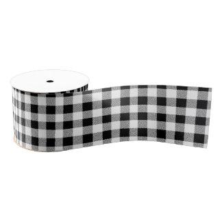 Gingham check pattern black and white grosgrain ribbon
