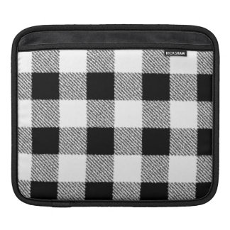 Gingham check pattern black and white iPad sleeve