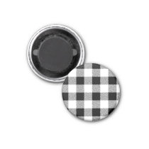 Gingham check pattern black and white magnet