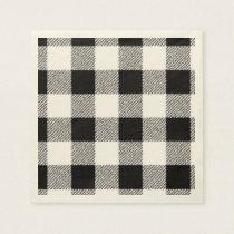 Gingham check pattern black and white paper napkin
