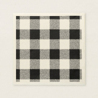 Gingham check pattern black and white paper napkin