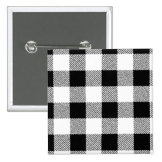 Gingham check pattern black and white pinback button