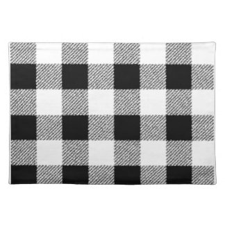 Gingham check pattern black and white placemat