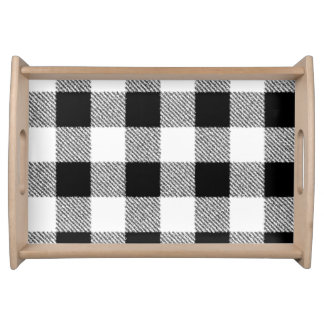 Gingham check pattern black and white serving tray