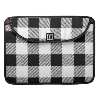 Gingham check pattern black and white sleeve for MacBook pro
