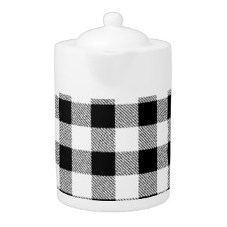 Gingham check pattern black and white teapot