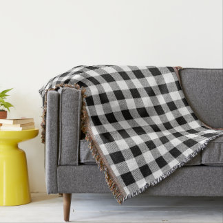Gingham check pattern black and white throw blanket