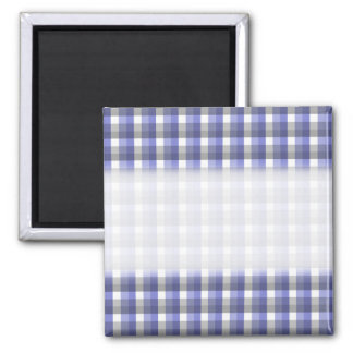 Gingham check pattern. Blue, Gray, White. 2 Inch Square Magnet