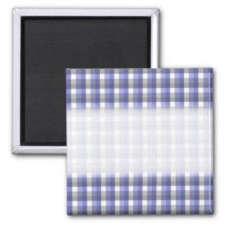 Gingham check pattern. Blue, Gray, White. Magnet