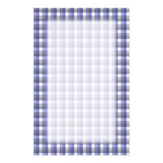 Gingham check pattern. Blue, Gray, White. Stationery