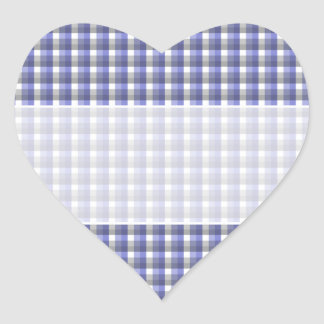 Gingham check pattern. Blue, Gray, White. Heart Stickers