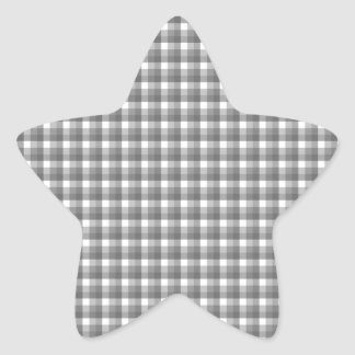 Gingham check pattern. Gray and White. Star Sticker